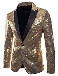 cheap -Men's V Neck Blazer Regular Solid Colored Party Club Basic Punk & Gothic Winter Sequins Long Sleeve Black / Blue / Purple S / M / L