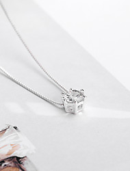 cheap -Women's White AAA Cubic Zirconia Charm Necklace Solitaire Ladies Simple Geometric Elegant Imitation Diamond Alloy White 50+5 cm Necklace Jewelry 1pc For Going out Work