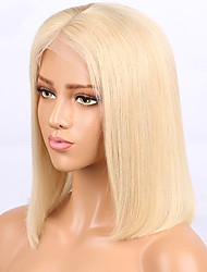 cheap -Human Hair Lace Front Wig Bob Middle Part Wendy style Brazilian Hair Burmese Hair Straight Wig 130% Density with Baby Hair Women Easy dressing Best Quality Hot Sale Women's Short Human Hair Lace Wig