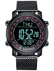 Недорогие -NAVIFORCE Муж. Спортивные часы электронные часы Японский Японский кварц Нержавеющая сталь Черный 30 m Защита от влаги Календарь Фосфоресцирующий Аналого-цифровые На каждый день Мода -
