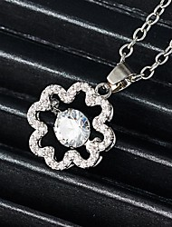 cheap -Women's Diamond Cubic Zirconia tiny diamond Charm Necklace Hollow Out Flower Flower Shape Ladies Unique Design Renaissance Rhinestone Alloy Gold Silver 45+5 cm Necklace Jewelry 1pc For Holiday