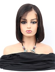 cheap -Unprocessed Human Hair Lace Front Wig Bob Short Bob Middle Part style Brazilian Hair Natural Straight Natural Wig 130% Density with Baby Hair Easy dressing Unprocessed with Clip Women's Human Hair