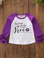 cheap -Baby Girls' Active / Basic Daily / Holiday Print / Halloween Ruffle Long Sleeve Regular Tee Purple / Toddler