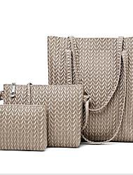 cheap -Women's Zipper PU Bag Set Bag Sets 3 Pcs Purse Set Black / Brown / Blue