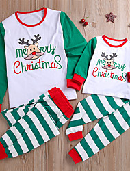 cheap -Adults Kids Family Look Basic Christmas Weekend Blue & White Letter Christmas Print Long Sleeve Regular Cotton Clothing Set Green