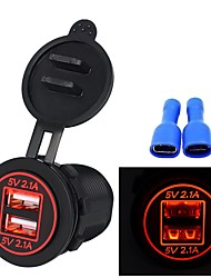 cheap -5V 3.1A Dual USB Port Car Charger Led Power Outlet For Ipad Iphone Car Motorcycle Boat Mobile Phones