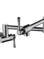 cheap -Kitchen faucet - Two Handles One Hole Nickel Brushed Pot Filler Wall Mounted Contemporary Kitchen Taps