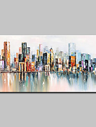 cheap -Oil Painting Hand Painted Abstract / Landscape Modern Canvas Rolled Without Frame