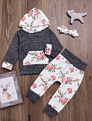 cheap -Baby Girls' Casual / Basic Party / Holiday Floral Print Long Sleeve Regular Regular Cotton Clothing Set Gray / Toddler