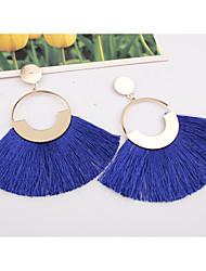 cheap -Women's Drop Earrings fan earrings Hanging Earrings Tassel Ladies European Fashion Elegant Oversized Earrings Jewelry Wine / Light Blue / Dark Green For Party Street 1 Pair