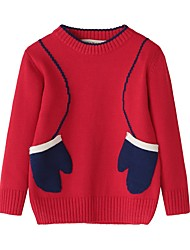 cheap -Kids Girls' Vintage Active School Going out Print Christmas Print Long Sleeve Regular Cashmere Cotton Sweater & Cardigan Blushing Pink