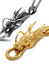 cheap -Men's Pendant Vintage Style Stylish Dragon Faith Ladies Artistic Dangling Trendy Titanium Steel Brooch Jewelry Gold Silver For Club Birthday