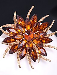 cheap -Women's Citrine Brooches Layered 3D Flower Ladies Vintage Colorful Rhinestone Gold Plated Brooch Jewelry Rainbow White Champagne For Evening Party Festival