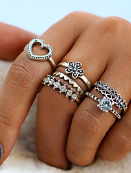cheap -Women's Ring Ring Set Midi Rings Crystal Six-piece Suit Silver Alloy Circular Ladies Vintage Fashion Daily Street Jewelry Vintage Style Heart Flower Cool
