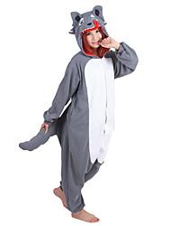 cheap -Adults Adults' Kigurumi Pajamas Wolf Onesie Pajamas Polar Fleece White+Gray Cosplay For Men and Women Animal Sleepwear Cartoon Festival / Holiday Costumes