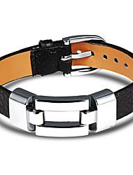 cheap -Men's Leather Bracelet Bracelet Classic Unique Design Punk Trendy Titanium Steel Bracelet Jewelry Black / Red For Daily Going out / Platinum Plated