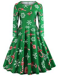 cheap -Women's Christmas Daily Going out Vintage Elegant Slim Swing Dress - Geometric Print Spring Cotton Green S M L XL
