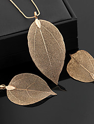 cheap -Women's Hoop Earrings Pendant Necklace Classic Leaf Statement Ladies Vintage Elegant Earrings Jewelry Black / Gold / Silver For Ceremony Evening Party 1 set
