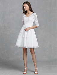 cheap -A-Line Wedding Dresses V Neck Knee Length Lace Half Sleeve Floral Lace with Sashes / Ribbons Bow(s) 2020