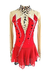 cheap -Figure Skating Dress Women's Girls' Ice Skating Dress Red Open Back Spandex Micro-elastic Professional Competition Skating Wear Handmade Sequin Long Sleeve Figure Skating
