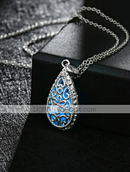 cheap -Women's Pendant Necklace Hollow Out Pear Ladies Vintage Punk Silver Plated Alloy Dark Blue 50 cm Necklace Jewelry 1pc For Party Halloween