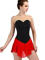 cheap -Figure Skating Dress Women's Girls' Ice Skating Dress Black / Red Spandex Stretch Yarn High Elasticity Training Competition Skating Wear Quick Dry Anatomic Design Handmade Classic Sexy Sleeveless
