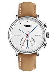 cheap -SKMEI Men's Dress Watch Wrist Watch Quartz Casual Water Resistant / Waterproof Casual Watch Analog Black / Gold White / Brown Black / One Year / Genuine Leather / Japanese