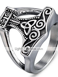 cheap -Men's Band Ring 1pc Black Titanium Steel Tungsten Steel Circle Geometric Vintage Punk Initial Halloween Daily Jewelry Vintage Style 3D Cool