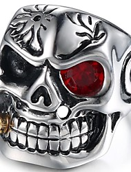 cheap -Men's Midi Ring Ruby 1pc Silver Red Titanium Steel Geometric Vintage Daily Birthday Jewelry Vintage Style Mexican Sugar Skull Skull Cool