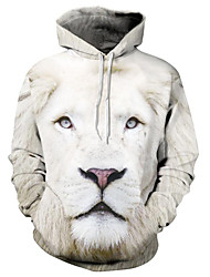 abordables -Pull à Capuche & Sweat-shirt Homme, 3D / Animal / Bande dessinée Imprimé Basique / Exagéré Blanche