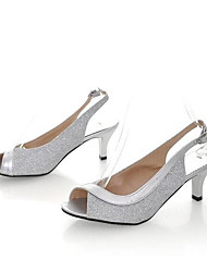cheap -Women's Sandals Stiletto Heel PU Spring Black / Gold / Silver