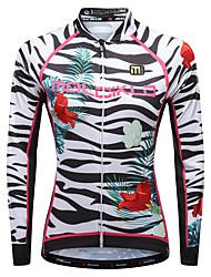 cheap -Malciklo Women's Long Sleeve Cycling Jersey Winter 100% Polyester Lycra Black White Purple Floral Botanical Zebra Plus Size Bike Jersey Top Mountain Bike MTB Road Bike Cycling Breathable Quick Dry