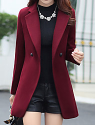 cheap -Women's Daily Fall & Winter Regular Coat, Solid Colored Straight Collar Long Sleeve Cotton / Polyester Red / Navy Blue / Wine XL / XXL / XXXL