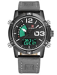 cheap -NAVIFORCE Men's Sport Watch Wrist Watch Digital Watch Japanese Japanese Quartz Stainless Steel Genuine Leather Black / Grey 30 m Water Resistant / Waterproof Calendar / date / day Dual Time Zones