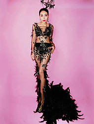 cheap -Exotic Dancewear Rhinestone Bodysuit / Club Costume Women's Performance Spandex Feathers / Fur / Crystals / Rhinestones Long Sleeve Dress