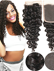 cheap -Yavida Mongolian Hair / Deep Wave 4x4 Closure / Free Part Curly Free Part Swiss Lace Human Hair Unisex Soft / Silky / Smooth Christmas Gifts / Party / Anniversary