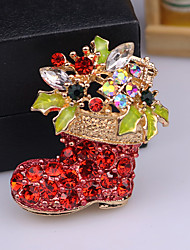 cheap -Men's AAA Cubic Zirconia Brooches Classic Santa Suits Shoe Classic Cartoon Cute Rhinestone Brooch Jewelry White / Red Red For Christmas Daily
