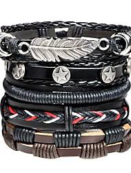 cheap -Men's Leather Bracelet Loom Bracelet Braided Rope Leaf Vintage Rock Hip-Hop Leather Bracelet Jewelry Black For Street Bar