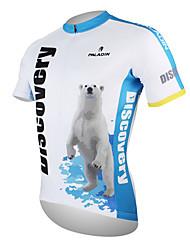 Недорогие -ILPALADINO Муж. С короткими рукавами Велокофты Белый + синий Полярный медведь Велоспорт Джерси Верхняя часть Горные велосипеды Шоссейные велосипеды / Дышащий / Быстровысыхающий / Дышащий