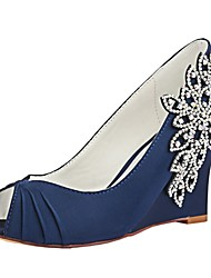cheap -Women's Pumps Satin Spring & Summer Wedding Shoes Wedge Heel Peep Toe Crystal Dark Blue / Party & Evening