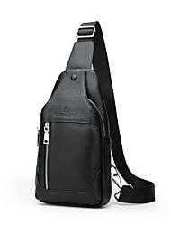 cheap -Men's Cowhide Sling Shoulder Bag Solid Color Black / Brown