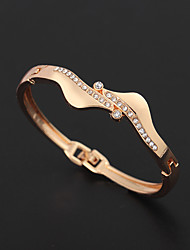 cheap -Women's AAA Cubic Zirconia Retro Gypsophila Wave Ladies Vintage Elegant Rhinestone Bracelet Jewelry Gold For Holiday Work