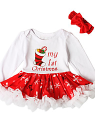 cheap -Baby Girls' Active Basic Christmas Party Birthday Print Christmas Long Sleeve Above Knee Dress White