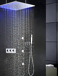 cheap -Contemporary Swash Rain Shower Faucet Set / 20 Inch Bathroom LED Shower Head / Brass Hand Shower Included / 6 PCS SPA Massage Body Sprayer Jets Bath Shower Mixer Taps