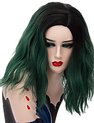 cheap -Curly Minaj Layered Haircut Wig Short Black / Dark Green Synthetic Hair 16 inch Women's Fashionable Design Green