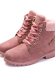 cheap -Women's Boots Bootie Low Heel Round Toe Buckle Faux Leather Sweet / Minimalism Fall & Winter Camel / Pink / Gray / Striped / EU39