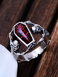 cheap -Men's Statement Ring 1pc Red Copper Silver Plated Statement Punk Carnival Professional Jewelry Retro Mexican Sugar Skull Skull Skeleton