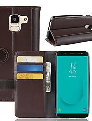 cheap -Case For Samsung Galaxy J8 (2018) / J7 Duo / J7 (2017) Wallet / Card Holder / Flip Full Body Cases Solid Colored Hard Genuine Leather