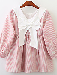 cheap -Kids Girls' Sweet Striped Long Sleeve Dress Blushing Pink