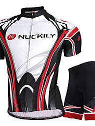 cheap -Men's Short Sleeve Cycling Jersey with Shorts Black with White Bike Shorts Jersey Clothing Suit Breathable Sweat-wicking Sports Mesh Mountain Bike MTB Road Bike Cycling Clothing Apparel / Advanced